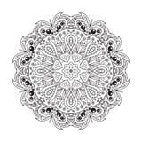 De tekening van de Mandalakrabbel Bloemen rond ornament Stock Afbeeldingen