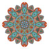 De tekening van de Mandalakrabbel Kleurrijk bloemen rond ornament Stock Afbeeldingen