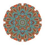 De tekening van de Mandalakrabbel Kleurrijk bloemen rond ornament Stock Fotografie