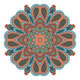 De tekening van de Mandalakrabbel Kleurrijk bloemen rond ornament Stock Foto's