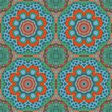 De tekening van de Mandalakrabbel Kleurrijke bloemen naadloos Stock Fotografie