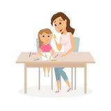 De tekening van de moeder en van de dochter royalty-vrije illustratie