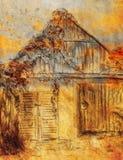 De tekening van de plattelandshuisjehand en wilde wijnstok Draving op oud document Royalty-vrije Stock Fotografie