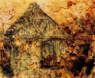 De tekening van de plattelandshuisjehand en wilde wijnstok Draving op oud document Stock Foto's