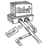 De tekening van de productpijpleiding Stock Afbeelding