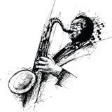 De tekening van Freehanding van een jazzsaxofonist Stock Afbeeldingen