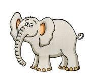De tekening van het beeldverhaal van een kleine olifant Royalty-vrije Stock Foto's