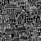De tekening van het beeldverhaalsprookje huisvest naadloos patroon Stock Afbeelding