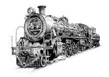 De tekening van het de kunstontwerp van de stoommotor Royalty-vrije Stock Afbeeldingen