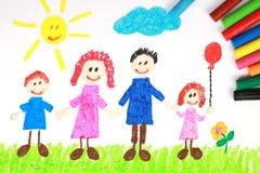 De tekening van het de stijlkleurpotlood van Kiddie van een gelukkige familie stock foto