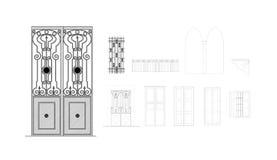 De Tekening van het Detail van deuren en van Vensters Stock Fotografie