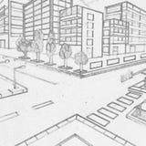 De tekening van het gebouwenpotlood door een 5de nivelleermachine wordt gemaakt die royalty-vrije stock foto's