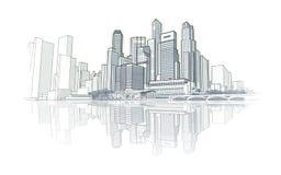 De tekening van het horizonperspectief Stock Fotografie