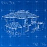 De tekening van het huis op blauwe achtergrond Royalty-vrije Stock Afbeelding