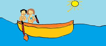 De tekening van het kind - boot Stock Afbeeldingen