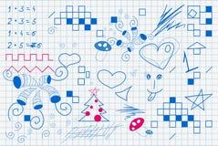 De tekening van het kind in het notitieboekje Stock Fotografie