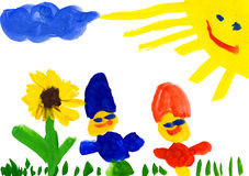 De tekening van het kind. kind op bloemweide Stock Foto's