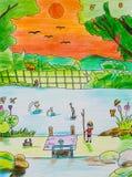 De tekening van het kind met kleurpotloden Stock Afbeeldingen