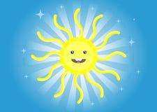 De tekening van het kind `s. Grappige zon Stock Afbeeldingen
