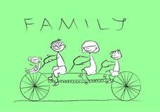 De tekening van het kind van de familie op een fiets, Royalty-vrije Stock Afbeelding
