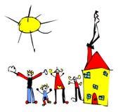De tekening van het kind van familie, zon en huis Royalty-vrije Stock Afbeeldingen