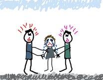 De tekening van het kind van ouders het vechten stock illustratie