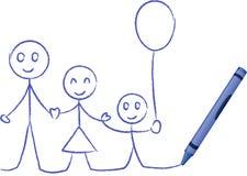 De Tekening van het kleurpotlood van een Familie - VectorIllustratie Stock Afbeeldingen