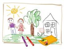 De Tekening van het Kleurpotlood van het kind (JPG+EPS) Stock Fotografie
