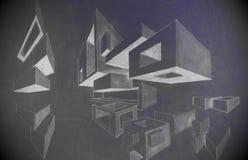 De tekening van het kubussenpotlood door een 5de nivelleermachine donkere kleuren die wordt gemaakt Royalty-vrije Stock Afbeeldingen