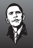 De tekening van het portret van Barack Obama Stock Afbeeldingen