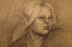 De tekening van het portret van meisje. Stock Fotografie