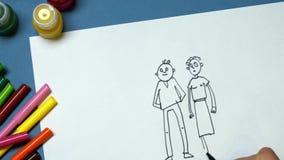 De tekening van het potlood stock video