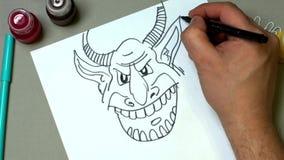 De tekening van het potlood stock footage