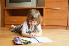 De tekening van het twee éénjarigenmeisje stock afbeeldingen