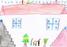 De tekening van Kerstmis van kinderen Stock Foto