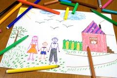 De tekening van kinderen Stock Afbeeldingen