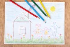 De tekening van kinderen stock foto
