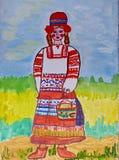 De tekening van kinderen aan sprookje Charles Perrault 'Weinig Rode Berijdende Kap ' Het schilderen Naïef art Abstract art royalty-vrije illustratie