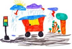 De tekening van kinderen. auto en verkeerslicht Stock Fotografie