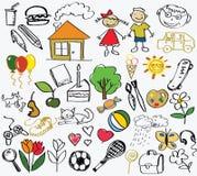 De tekening van kinderen, de vector Stock Afbeeldingen