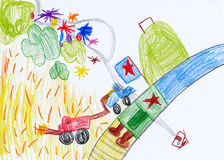 De tekening van kinderen. het oogsten in dorp Stock Afbeelding
