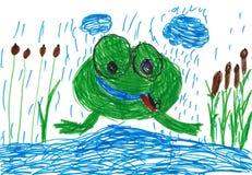De tekening van kinderen. kikker Stock Foto's