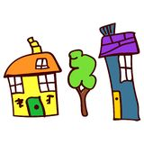 De tekening van kinderen met huizen en boom royalty-vrije illustratie