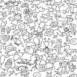 De tekening van kinderen - naadloos patroon Stock Afbeelding