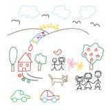 De tekening van kinderen - naadloos patroon Stock Foto