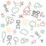 De tekening van kinderen - naadloos patroon Stock Foto's