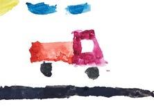 De tekening van de kinderen` s waterverf met spoor Royalty-vrije Stock Fotografie