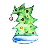 De tekening van de waterverf Hoed in de vorm van een verfraaide Kerstboom Geïsoleerd op wit Royalty-vrije Stock Fotografie