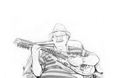 De tekening van Yomo Toro van de musicus Stock Fotografie