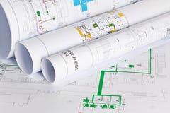 De tekeningen van architecten Royalty-vrije Stock Foto's